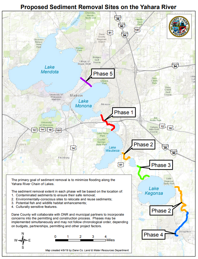 Map depicting five phases of sediment removal at sites along the Yahari River Chain of Lakes. The primary goal of sediment removal is to minimize flooding along the Yahari River Chain of Lakes. The sediment removal extent in each phase will be based on the location of: 1. Contaminated sediments to ensure their safe removal; 2. Environmentally-conscious sites to relocate and reuse sediments; 3. Potential fish and wildlife habitat enhancements; 4. Culturally sensitive features. Dane County will collaborate with DNR and municipal partners to incorportate concerns into the permitting and construction process. Phases may be implemented simultaneously and may not follow chronological order, depending on budgets, partnerships, permitting and other project factors.
